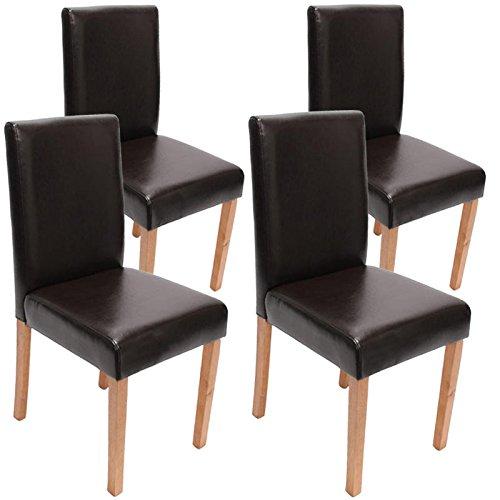 Lot de 4 chaises de séjour Littau, cuir reconstitué, marron, pieds clairs