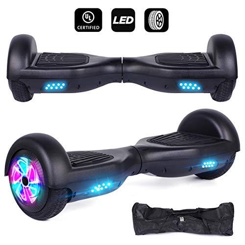 """Huanhui Hoverboard, 6,5\"""" Monopattino Elettrico Autobilanciato, Self Blance Scooter 2 * 300W Motore Skateboard Elettrico Smart Self Balance Board, Luce a LED, Nero"""