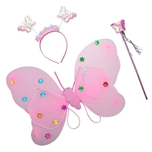 Gazechimp Glitter Feenflügel Schmetterlingsflügel Stab Stirnband Set für Kinder Feen Flügel Elfenflügel Schmetterlingflügel Kostüm Zubehör - (Kinder Für Feenflügel Kostüme)