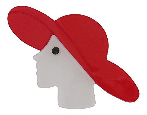 Brooch Boutique-Spilla Lady in acrilico con cappello rosso cofano Spilla
