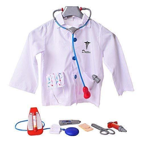 TE-Trend Arztkittel für Kinder Doktor Mantel mit Zubehör 9-teiliges Set zum Spielen in Einheitsgröße für Kleinkinder