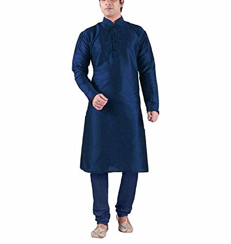 Royal Kurta Men's Silk Blended Mandarin Collar Long Kurta Churidar...