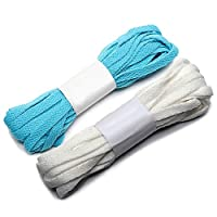 rismart Wide Flat Shoe Laces Appr. 141.7IN Length for Long Canvas Sneakers Boots - Eight Colors P27 (White&Blue(2 pairs),360 CM)
