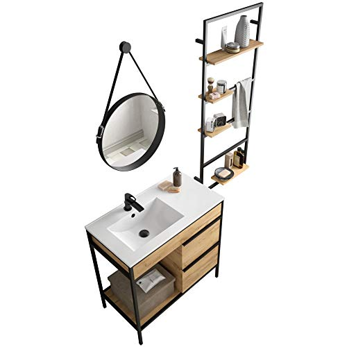 Vinci Badmöbel Set Waschtisch Links 85cm, Unterschrank rechts, Spiegel und Regal Industriedesign