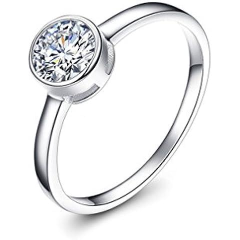 Waterlucy 0,5 carati con castone con anelli, placcata in oro bianco 18 k, motivo: fedi nuziali, dimensioni 0,5 K per 0,5R) - Fedi In Platino Mens