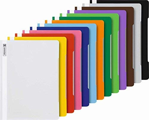 13 Brunnen Schnellhefter A4 farbig sortiert PP-Folie glasklares Deckblatt (Hefter)