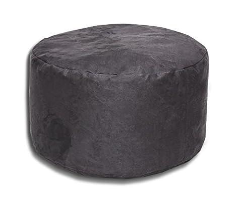 Petit pouf tabouret confortable avec granules de polystyrene 40x65cm (couleur: noir)