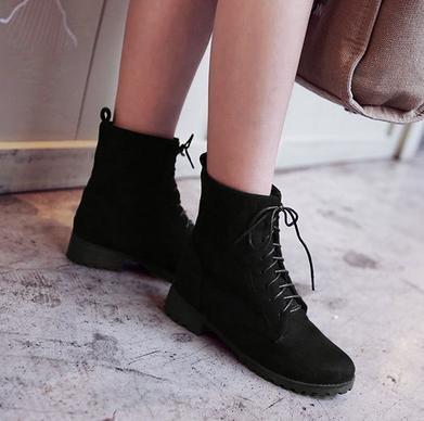 &ZHOU Bottes d'automne et d'hiver courtes bottes femmes adultes Martin bottes Chevalier bottes A38 Black