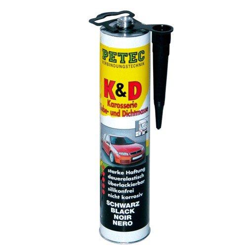 1x PETEC K&D Karosserie Klebe- und Dichtmasse Klebemasse Dichtmasse Karosseriekleber Klebstoff Kleber Kartusche 310ml schwarz