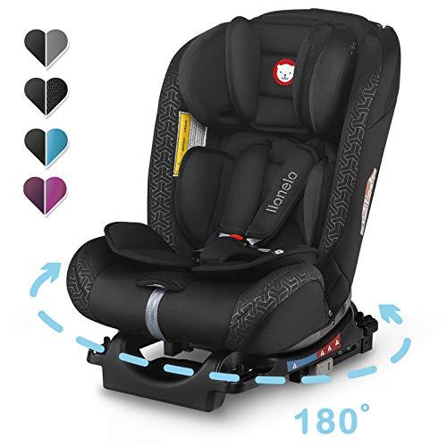 Lionelo Sander Kindersitz mit ISOFIX, Autokindersitz ab Geburt, Gruppe 0+ 1 2 3 (0-36kg), ECE R 44/04, TÜV SÜD (Schwarz)