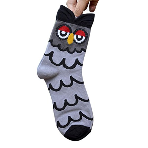 RETUROM LINDO 3D Animales de rayas calcetines de la historieta de las mujeres del búho Huellas de algodón calcetines del piso (Gris)