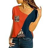 Fannyfuny Damen Casual Leopard Patchwork Farbblock Langarm T-Shirt Asymmetrischer V-Ausschnitt Langarmshirt Tops Sweatshirt T