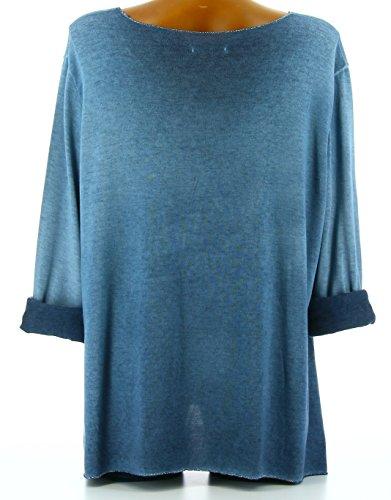 Charleselie94® - Tunique tee shirt coton bohème grande taille bleu jean APACHE BLEU Bleu