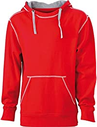 JAMES & NICHOLSON Hooded sweatshirt with fashionable contrasting seams (XXL, red/grey-heather)