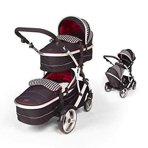 Kids kargo duellette combi tandem doppio twin passeggino (oxford stripe) per neonato twins