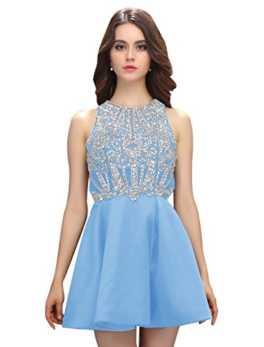 Dressystar Robe femme, Robe de soirée courte,dos nu,aux strass perles à fleur en Satin Bleu