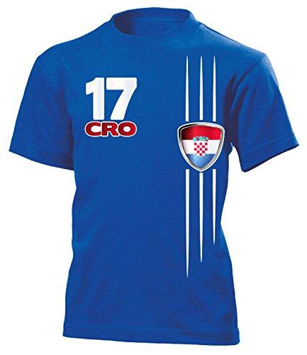 Kroatien Fan Streifen 4300 Fussball Kinder Fanshirt Fun-T-Shirts Blau 140