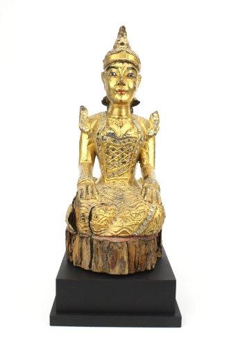 Lanna antico antico dorato e laccato in legno di teak figurina, birmania