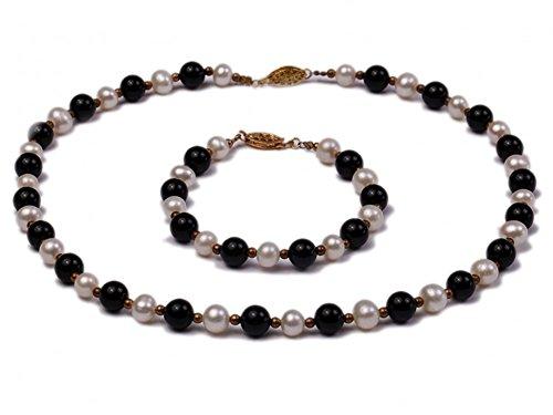 7eaa2ea99c04 JYX - Juego de collar y pulsera de perlas de agua dulce blancas de 8 mm y  ágata negra