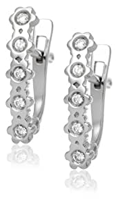 Diamond Earrings, 18ct White Gold, Diamond Flower Bands, by Miore, M0542PW