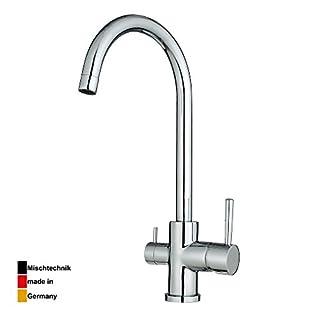 BURGTAL ANIS | Küchenarmatur - Spültischarmatur | Mischbatterie mit Geräteanschluss für Wasch- und Spülmaschine | hoher Auslauf | Niederdruck | Chrom