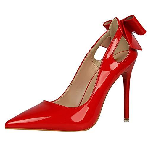 Damen High Heels Stilett Krawatte Damen Spitze Sexy Gericht Schuhe Party Arbeit Pumps,Red-EU38=240 Schuh High Heel Dorsay Pump