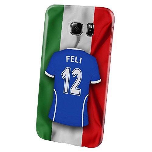 Preisvergleich Produktbild PhotoFancy – Samsung Galaxy S6 Handyhülle Premium – Personalisierte Hülle mit Namen Feli – Case mit Design Fußball-Trikot Italien EM 2016