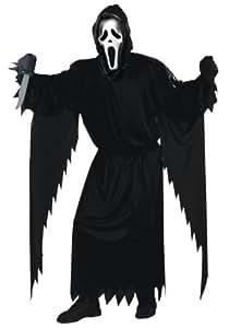 Scream Luxus Megaset Original Scream USA Lizenz Maske, Erwachsenen Horror Kostüm (unisize), Handschuhe, XL Mörder Messer mit Blutspuren und extrafieser langer Kling inklusive Stimmverzerrer - mit fremden Monsterzungen sprechen inklusive besten Markenbatterien mit im Set