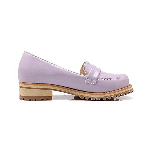 VogueZone009 Femme Tire Rond à Talon Bas Pu Cuir Couleur Unie Chaussures Légeres Violet