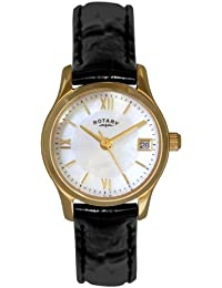 Rotary Women's Quartz Watch with Mother of Pearl Dial Analogue Display and Black Leather Strap LS02368/41