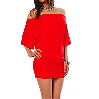 ALB Damen Shirt Bluse Sommer Sommershirt Carmenbluse Longshirt Tunika Bluse Pullover T-Shirt Tank Top Minikleid Rot XL