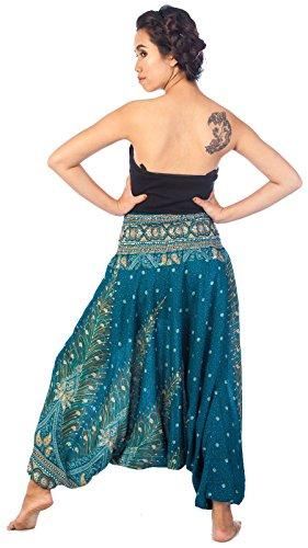 Lofbaz Damen 2 in 1 Haremshose & Jumpsuit Pfauendruck Peacock 1 Blaugrün