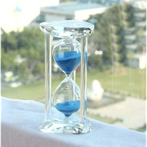 azul minutos reloj de arena contador de tiempo cristal ornamentos creativo joyería para enviar los hombres y mujeres amigos niños cumpleaños regalo letras azul