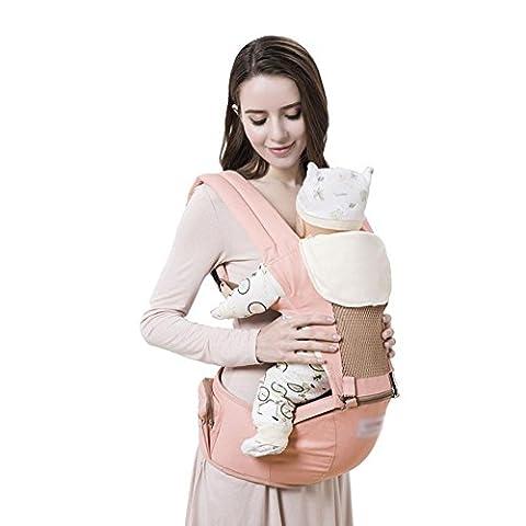 Babytrage Babybauchtragen Baby-Träger Breathable Baumwoll-Hüft-Sitzträger Leichtes ergonomisches Design Sparen Sie Vielfalt Vielfalt tragen Wege mit abnehmbarem Sitz Einstellbare Neugeborene Portable Multifunktions-Rucksackträger Max 30kg , Pink