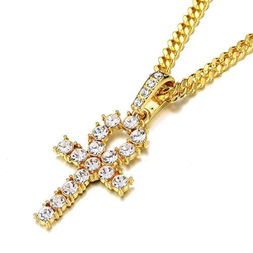 IJEWALRY Frauen Silber Halskette, Zirkon Anhänger,Iced Zircon Ankh Kreuz Anhänger Gold Silber Kupfer Cz Ägyptischer Lebensschlüssel Anhänger Halskette Männer Frauen Hip Hop Schmuck (Männer Gold Diamant Kreuz Anhänger)