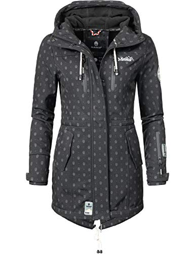 Marikoo Damen Softshell-Jacke Outdoorjacke Zimtzicke Schwarz Dots Gr. L