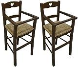 SF SAVINO FILIPPO 2 Pezzi di Seggiolone sediolone Sedia Sgabello in Legno Noce Marrone da Tavolo per Bimbo Bimba Bimbi con Cuore su Schienale Legno massello