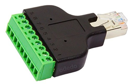 odedo® RJ45 Stecker auf Terminal Block 8-Pin Adapter LAN Netzwerkstecker Ethernet Converter Male to 8 pin Screw - Telefon-terminal-block