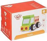Tooky Toy Holzspielzeug Bau Transporter, LKW Kinderspielzeug Fahrzeug für Kinder - Spielzeugauto für Kleinkinder