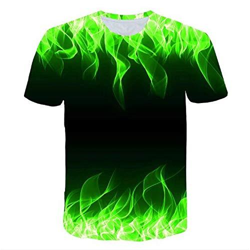 3D Print Weste Herren Tank Top Fitness Ärmelloses Shirt Herren Bekleidung Sportswear Unterhemd Sommer,Grüne Flamme 3D Grün XL