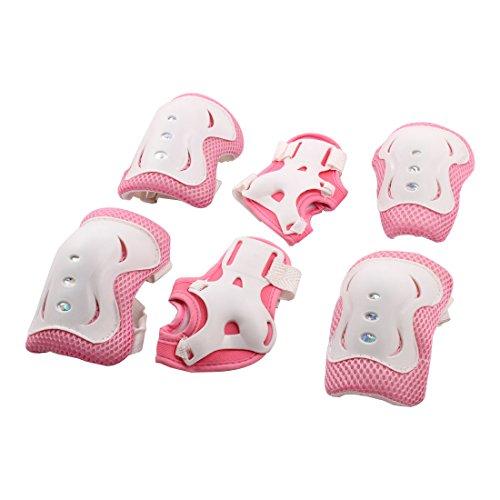 sourcingmap® Pink Rollschuhlaufen Fahrrad Knie Ellenbogen Handgelenk Sport Schützer 1 Set Ellenbogen, Handgelenk Und Knieschützer