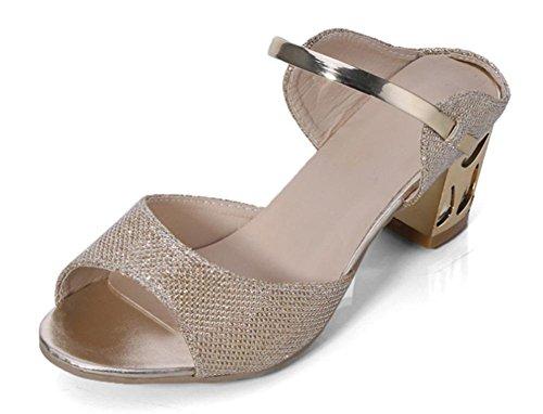 Mme Sandales à talons hauts et pantoufles sandales en strass en plein air avec une épaisseur avec la tête de poisson en sandales Gold