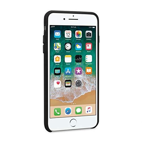 StilGut Premium Hülle kompatibel mit iPhone 8 Plus/iPhone 7 Plus aus Nappaleder, Schwarz mit Metallknopf