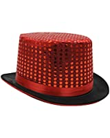 ADULTS SEQUIN TOP HAT FANCY DRESS DANCE SHOW PARTY IN COLOURS RED, SILVER, BLACK, GOLD OR PINK LADIES MENS RINGMASTER HAT HEN NIGHT