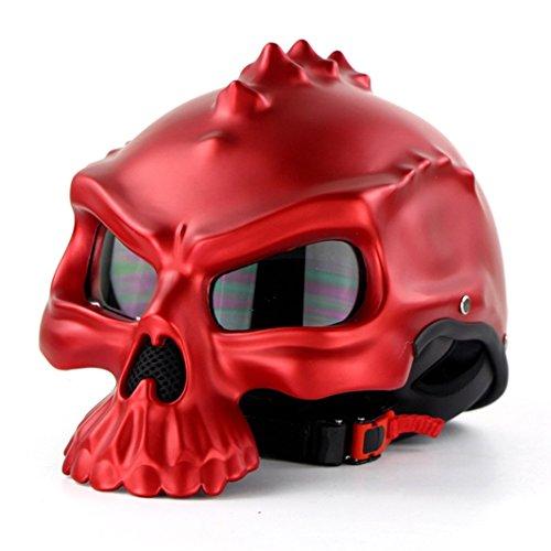 Lidauto caschi moto skull amazing unique matte ultime cool all seasons black,red,l