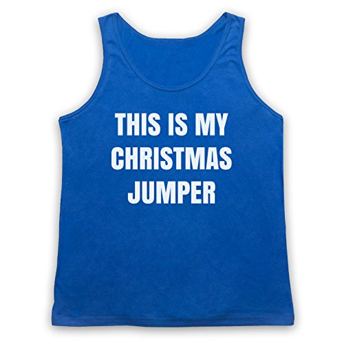 This Is My Christmas Jumper Funny Anti Xmas Slogan Tank-Top Weste Blau