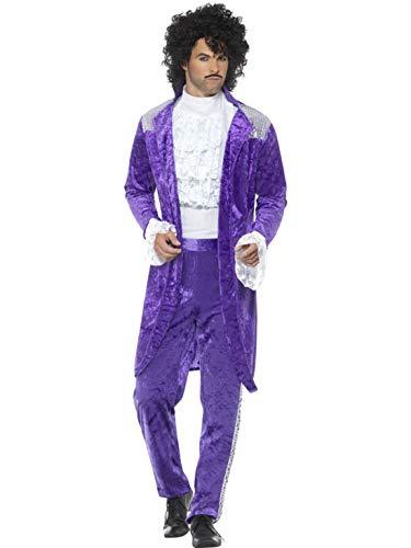 Halloweenia - Herren Männer 80er Jahre Purple Musiker Kostüm mit Jacket, Hose und Hemd, perfekt für Karneval, Fasching und Fastnacht, L, - Kostüm Party Musiker