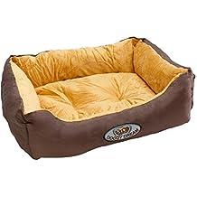 ECD Germany Cama para perro 62x48x19cm 6kg en poliéster lavable a 30 grados Color beige-marrón Tamaño: M