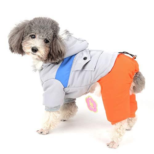 Ranphy Wasserdichter Schneeanzug für Hunde und Katzen, Fleece-gefüttert, für den Winter, mit Kapuze, warm, für Chihuahua-Kleidung, Winddicht