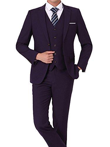 Costume Homme Trois-Pièces Veste Gilet et Patalon Slim Fit Elegant Deux Boutons Bussiness Mariage Violet